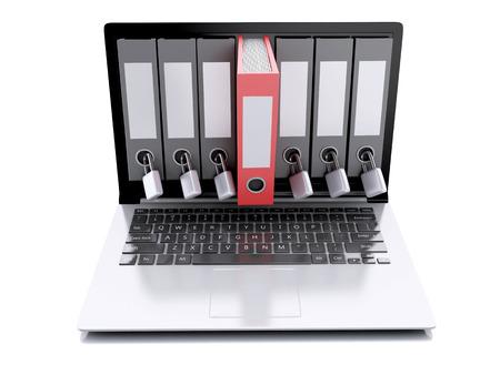 노트북 및 비밀 폴더의 이미지입니다. 격리 된 흰색 배경에 데이터 보안 개념입니다. 3D 렌더러 스톡 콘텐츠