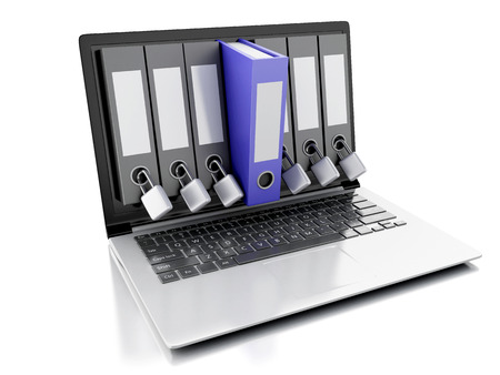 image of  laptop and secret folder. Data security concept on isolated white background. 3d renderer