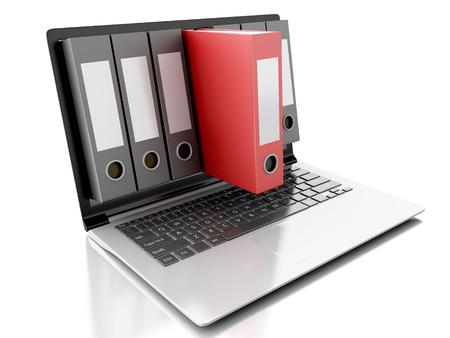 3 d アーカイブ コンセプトのイメージ。ラップトップおよび分離の白の背景にファイル