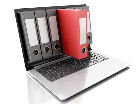 image of 3d Archive concept. Laptop and files on isolated white background photo