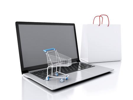 3d Cesta de la compra y un ordenador portátil. Foto de archivo - 33713423