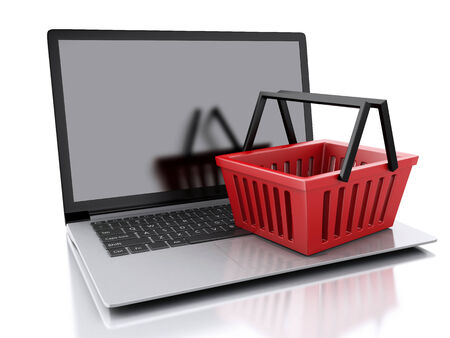 3d Shopping basket and laptop. photo