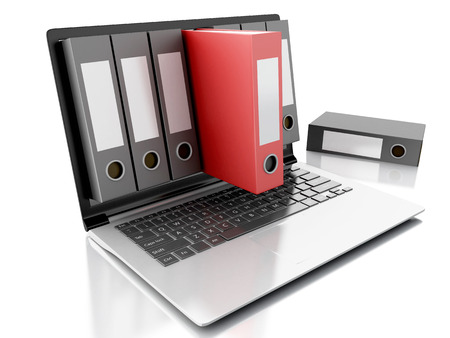 stack of files: image of 3d Archive concept. Laptop and files on isolated white background