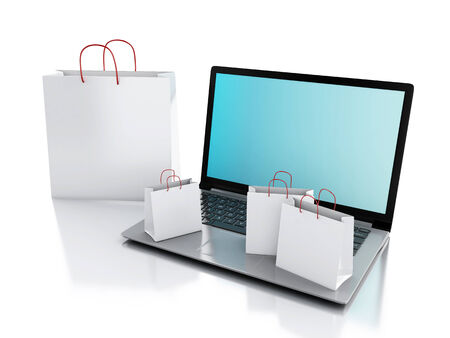 3d Laptop and White Shopping Bags. Online internet concept on isolated white background photo