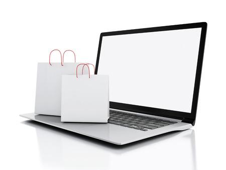 3 d ノート パソコンと白い買い物袋。 写真素材