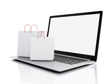 3d Laptop and White Shopping Bags.  Stok Fotoğraf