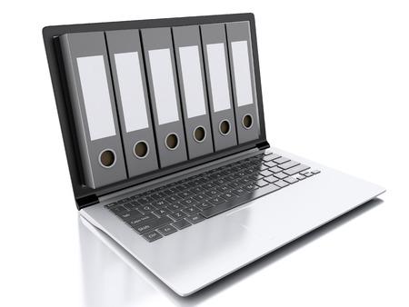 Bild 3d Archiv-Konzept. Laptop und Dateien, auf weißem Hintergrund isoliert Standard-Bild - 33715114
