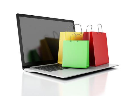 3 d ノート パソコンとカラフルなショッピング バッグ。