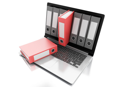 image of 3d Archive concept. Laptop and files on isolated white background