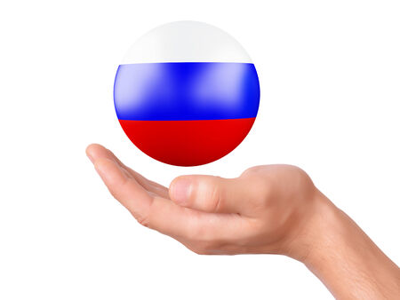 hand Holding russia 3d flag icon. isolated on white bakground photo