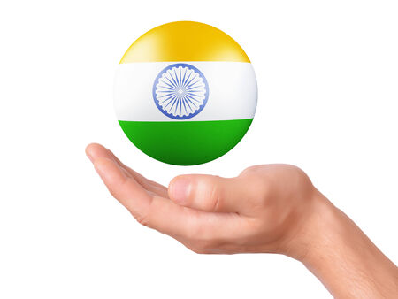 green flag: hand Holding india 3d flag icon. isolated on white bakground