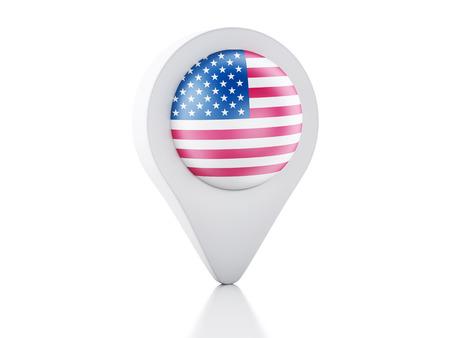 glance: 3d Map pointer United States flag icon on white background Stock Photo