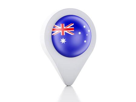 3d Map pointer australia flag icon on white background photo