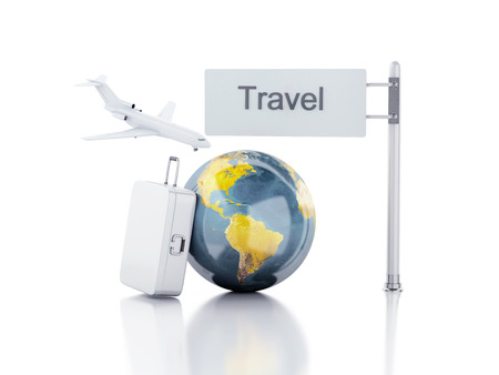 3d renderer illustration.travel suitcase, airplane and world globe. travel concept on white background. illustration