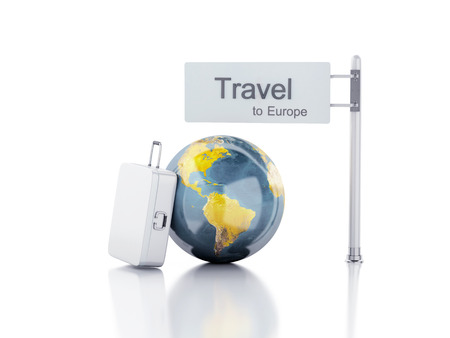 3d renderer illustration.travel suitcase and world globe. travel to europe concept on white background. Stock fotó - 34013678