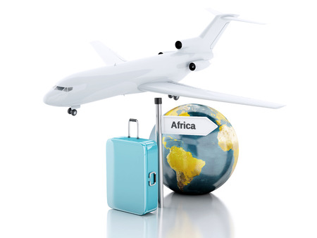business class travel: 3d renderer illustration.travel suitcase, airplane and world globe. travel to Africa concept on white background.