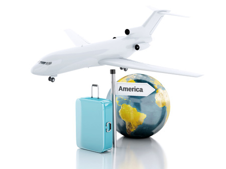 business class travel: 3d renderer illustration.travel suitcase, airplane and world globe. travel to America concept on white background.