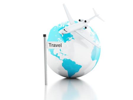 3d renderer illustration.travel suitcase, airplane and world globe. travel concept on white background. illustration