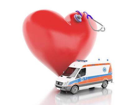 3d renderer illustration. red heart, stethoscope and ambulance. isolated on white background illustration