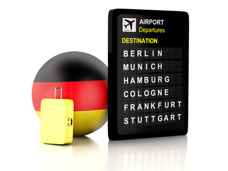 departures: 3d illustration render. airport board, germany departures information and travel suitcases on white background