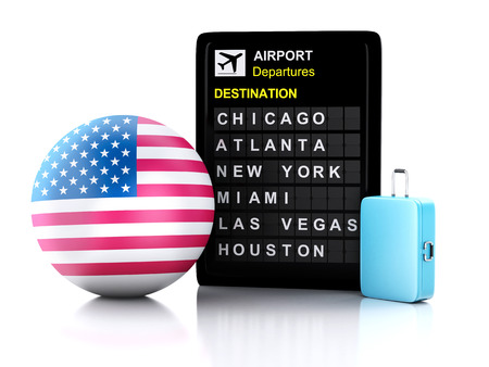 3d illustration render. airport board, united states departures information and travel suitcases on white background illustration