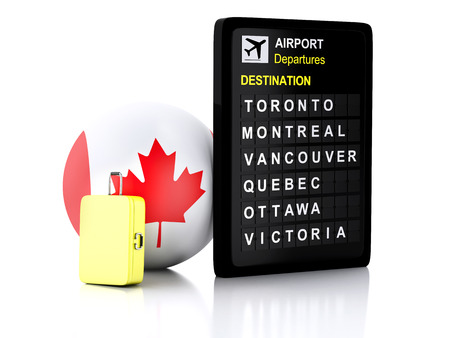departures: 3d illustration render. airport board, Canada departures information and travel suitcases on white background Stock Photo