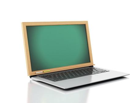 Laptop with chalkboard. 3d illustration on white background Foto de archivo
