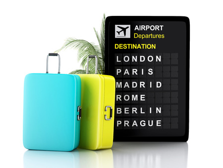 3d illustration render. airport board, europe destination and travel suitcases on white background illustration