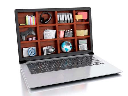 multimedia background: 3d illustration. Laptop and multimedia. coceptual image on white background Stock Photo