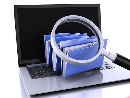 3d renderer illustration. laptop, magnifying glass and computer files illustration