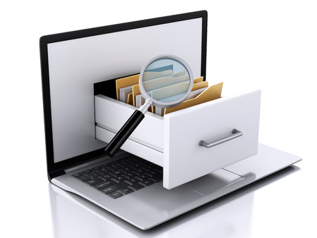 3D-Darstellung. Laptop und Dateien. Datenspeicherung. Standard-Bild - 34483804