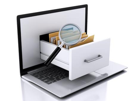 3d ilustración. Laptop y archivos. El almacenamiento de datos. Foto de archivo - 34483804