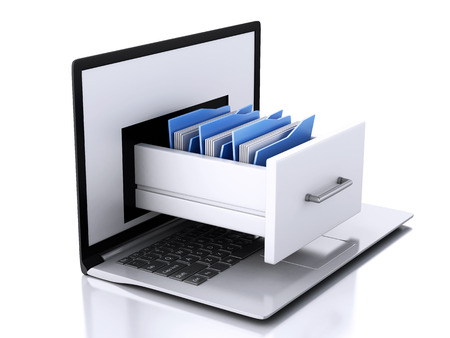 three dimensional   shape: 3d illustration. Laptop and files. Data storage. Stock Photo