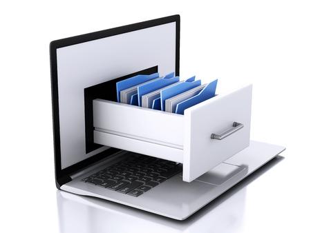 3d illustration. Laptop and files. Data storage. Archivio Fotografico