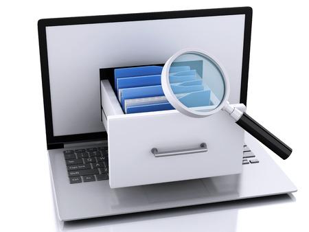 3 d イラスト。ノート パソコンとファイル。データ ストレージ。