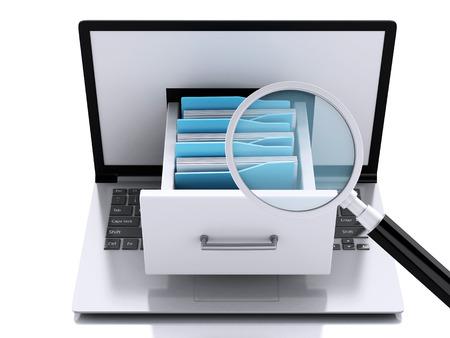 3d illustration. Laptop and files. Data storage. Foto de archivo