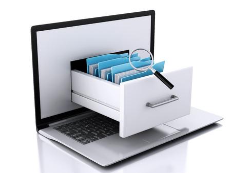 3 d レンダラーのイラスト画像です。ノート パソコンとファイル。データ ストレージ。