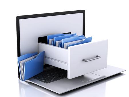 3d  illustration. Laptop and files. Data storage.