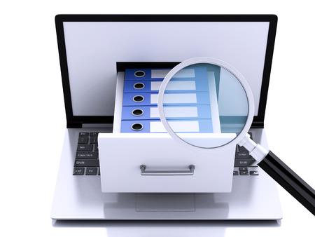 3d renderer illustration. Laptop pc with ring binders.  Data storage.