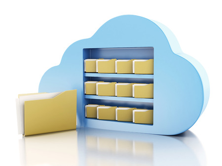 3d illustration. File storage in cloud. Cloud computing concept on white bakcground Reklamní fotografie