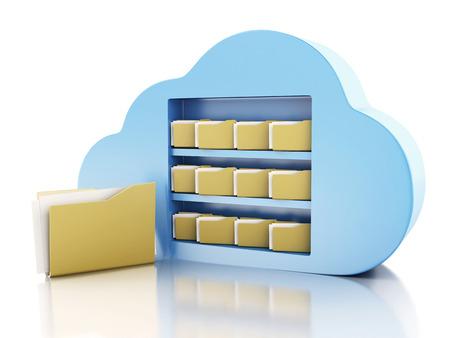 3d illustration. File storage in cloud. Cloud computing concept on white bakcground Foto de archivo