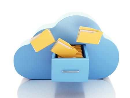3d renderer Abbildung. 3D-Dateiablage in Wolke. Cloud-Computing-Konzept auf weißem bakcground Standard-Bild - 34511334