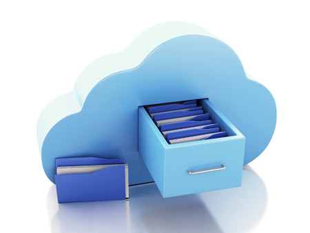 3d illustration. File storage in cloud. Cloud computing concept on white bakcground illustration