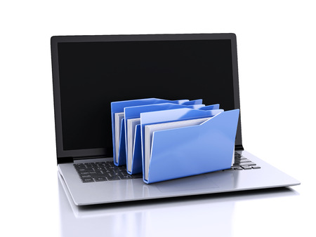 3d illustration. laptop and computer files folders