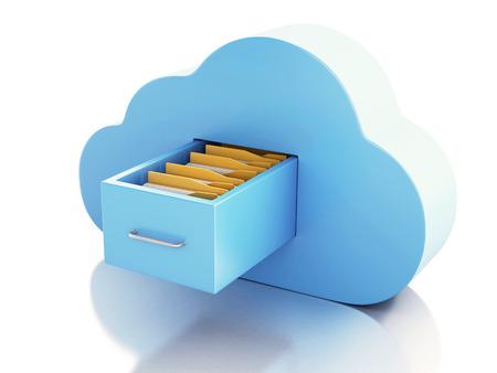 3d renderer Abbildung. 3D-Dateiablage in Wolke. Cloud-Computing-Konzept auf weißem bakcground Standard-Bild - 34478822