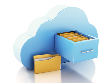 3d renderer illustration. 3d File storage in cloud. Cloud computing concept on white bakcground