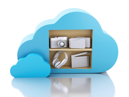 3d illustration. Cloud computing concept with Multimedia icons illustration