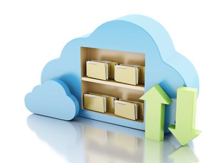 3D-Darstellung. 3D-Dateiablage in Wolke. Cloud-Computing-Konzept auf weißem bakcground Standard-Bild - 34486105