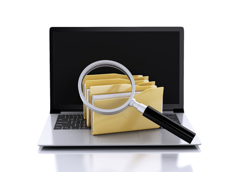 3d  illustration. laptop, magnifying glass and computer files Stock Photo
