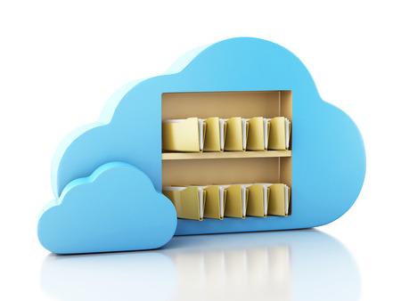 3d illustration. 3d File storage in cloud. Cloud computing concept on white bakcground Foto de archivo